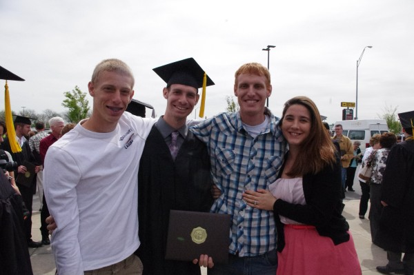 2013 BGSU graduate, Gene Swager with brothers Joey and Ben, and sister-in-law Tina.
