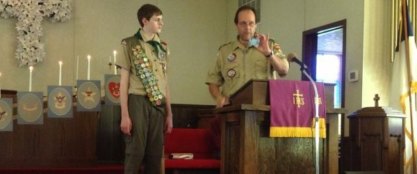 Ian Jones and Scoutmaster Brian Holbrook