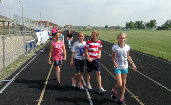 Walking the track during the Mini Relay for Life.